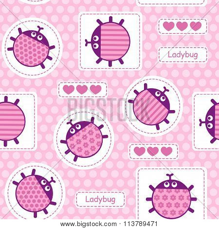 Pink ladybirds seamless vector pattern