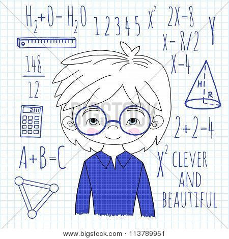 Schoolboy spectacled on a plaid background vector illustration.