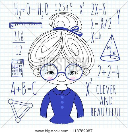 Schoolgirl spectacled on a plaid background vector illustration.