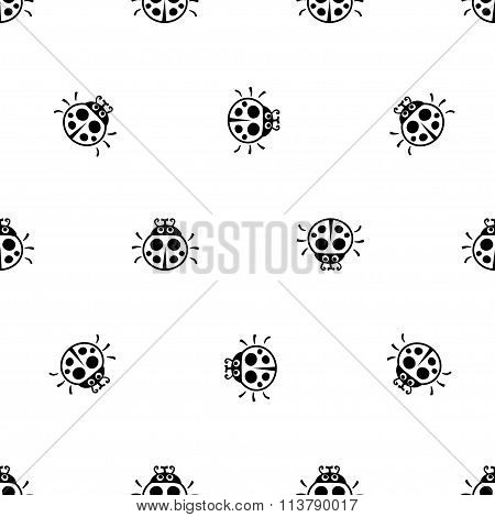 Ladybirds seamless vector pattern