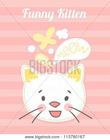 white kitten vector cards.