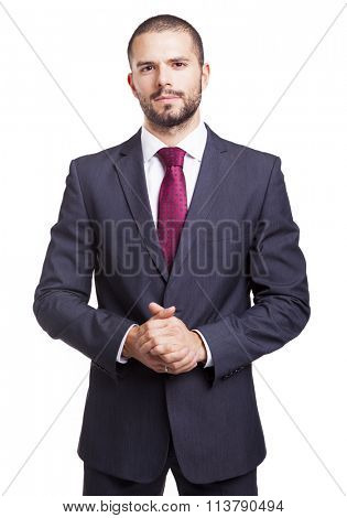 Portrait of a serious businessman, isolated on white background