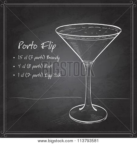 Porto Flip Cocktail on black board
