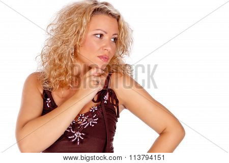 Handsome blonde young woman thinking - isolated on white