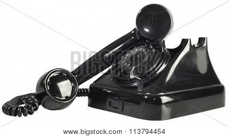 Old Black Rotary Bakellite Telephone Cutout