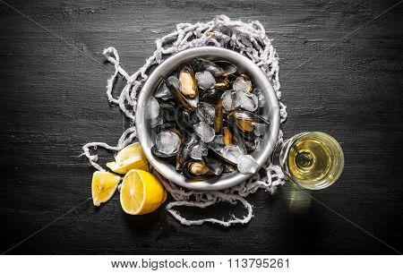 Clams In A Cup With Ice, Wine And Lemon.