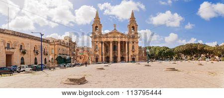 Church Of St. Publius (the First Bishop Of Malta) In Floriana And City Streets In Valletta, Malta.