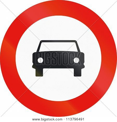 Road Sign Used In Spain - Entry Forbidden To Motor Vehicles, Except Motorcycles With Two Wheels