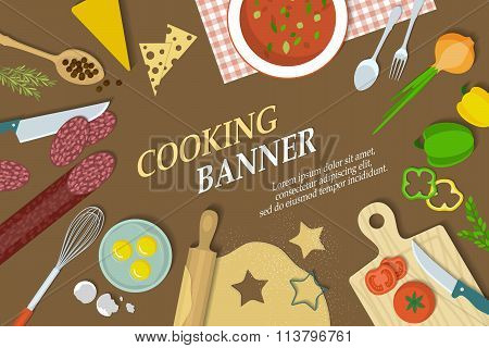 Cooking banner with kitchenware. Cooking banner vector. Cooking banner illustration. Cooking banner flat. Cooking banner view from above