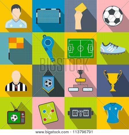 Soccer flat icons set