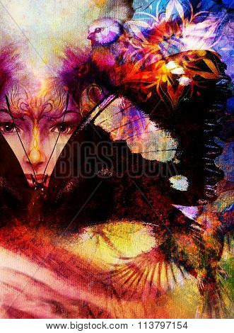 Beautiful Painting Goddess Woman with bird phoenix on your face with ornamental mandala and butterfl
