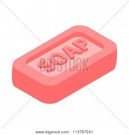 Pink bar of soap 3d isometric icon