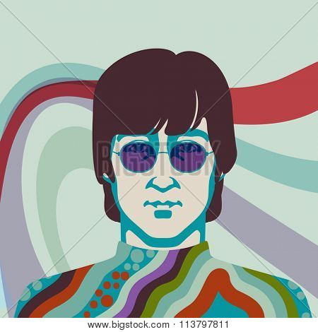 JANUARY 8 2016: Vector Illustration of John Lennon, eps10, vector  - stock vector