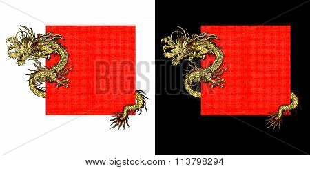 Vector illustration of a frame with a red dragon gold-colored sticker.It can be used as a poster or