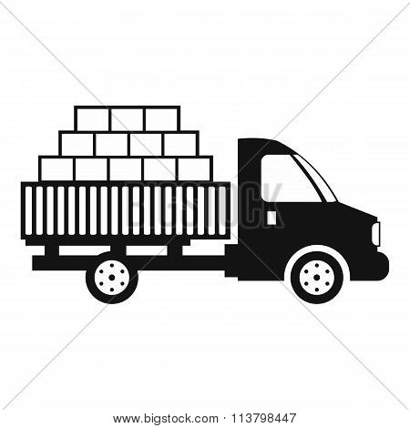 Cargo transportation by car black simple icon