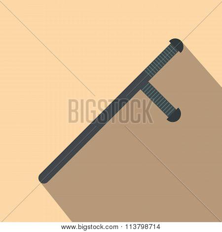 Black rubber baton flat