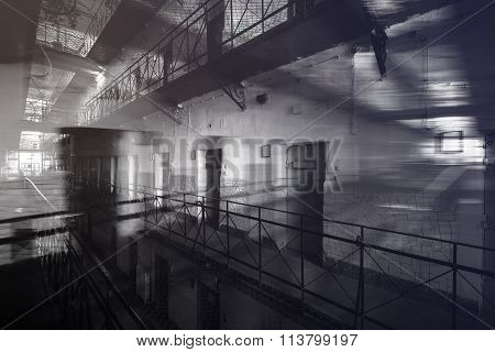 The inside of a prison