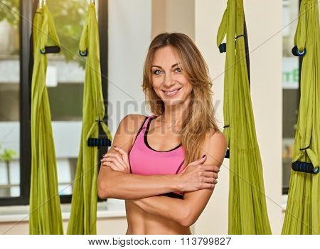 Antigravity yoga slim woman