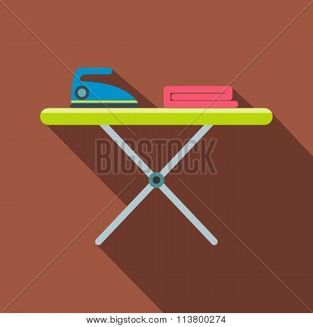 Ironing board with iron flat