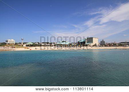 Tropical beach in Ginowan city Okinawa Japan