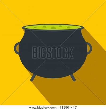 Witch cauldron with green potion flat