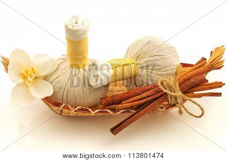 Pouches, Decorative Flowers Orchid, A Basket, Bunch Of Cinnamon