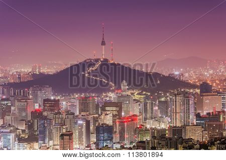 Downtown skyline of Seoul, South Korea with Seoul Tower