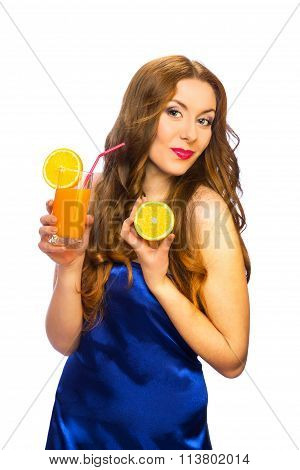 Beautiful Standing Woman With Glass Of Orange Juice And Orange Fruit