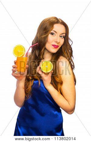 Beautiful Standing Woman With Glass Of Orange Juice And Orange Fruit