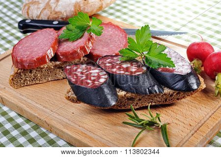 Snack bread with smoked sausages