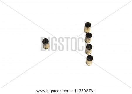 Empty 9mm bullet shells over white background standing