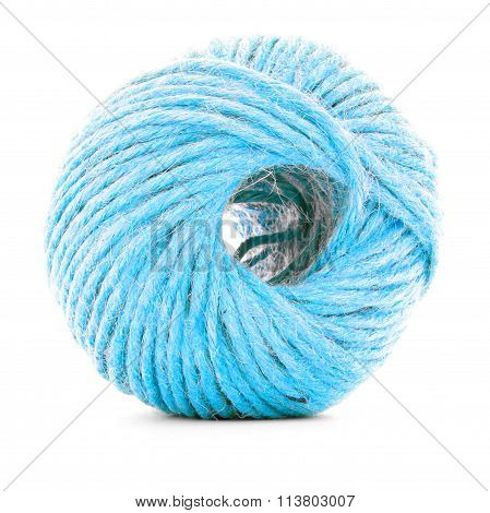Blue Wool Skein, Sewing Yarn Roll Isolated On White Background