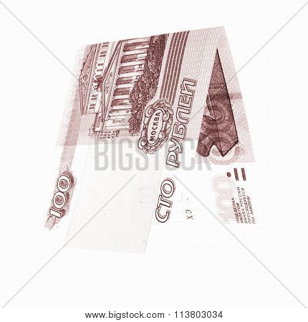 Brown 100 Rubles Folded In Half, Russian Roubles Isolated White