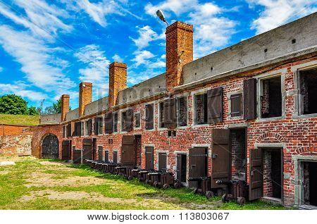 Barracks in Wisloujscie fortress, Poland