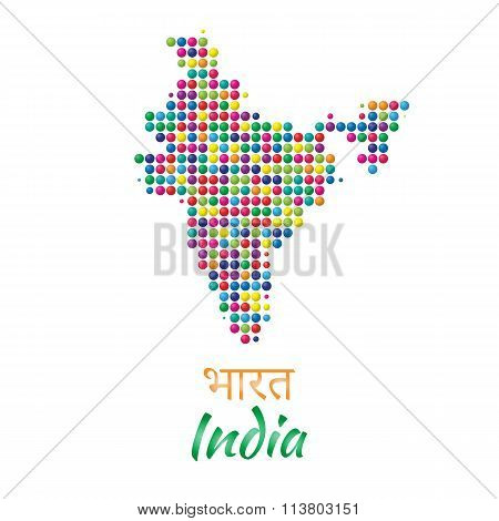 India Map vector black multicolor dotted design