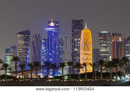 Doha City Skyline At Night, Qatar