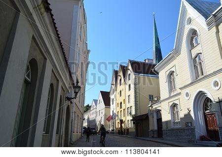 Picture of a TALLIN ESTONIA. 24 AUGUST 2015- Tourist view of Old Town architecture in Tallinn Estonia