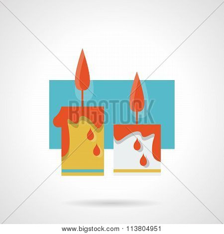 Burning wax candles flat color vector icon