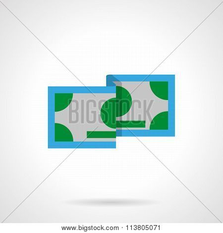 Green banknote flat color vector icon