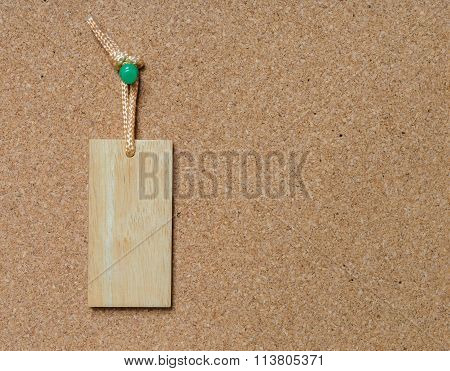 Blank Wooden Tag Hang On Cork Board