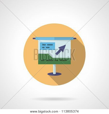Business project round flat color vector icon