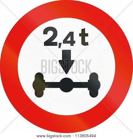 Road Sign Used In Spain - Axle Load Limitation