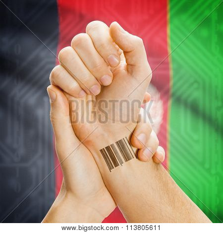 Barcode Id Number On Wrist And National Flag On Background - Afghanistan