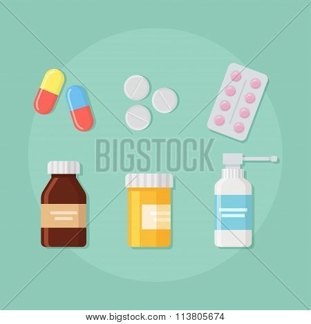 Pills, Tablets And Bottles Vector Set