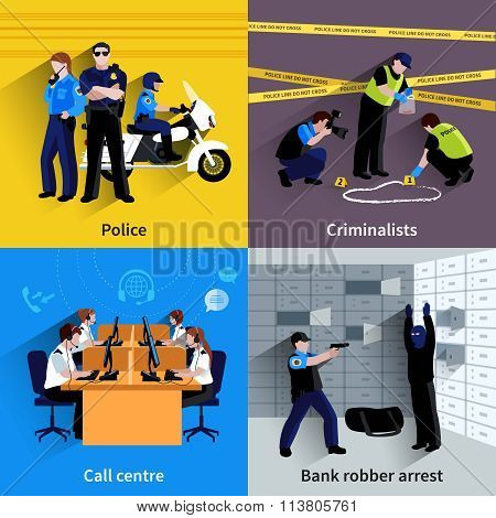 Policeman People Square Concept