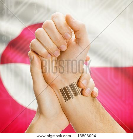 Barcode Id Number On Wrist And National Flag On Background - Greenland