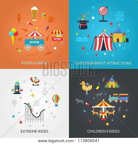 Amusement Park 4 Flat Icons Square