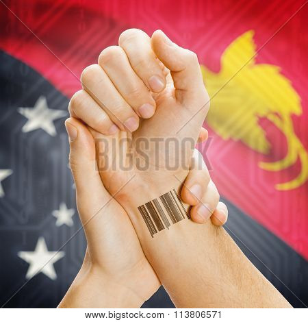 Barcode Id Number On Wrist And National Flag On Background - Papua New Guinea