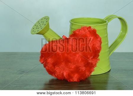 Green Watering Can With Red Plush Heart