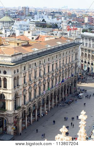 View from Milan Cathedral to Piazza del Duomo